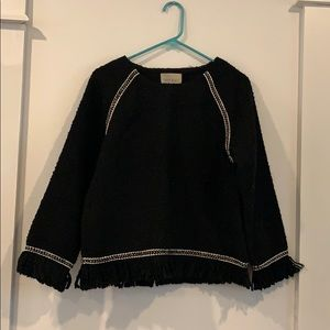 NWT black sweater with fringes